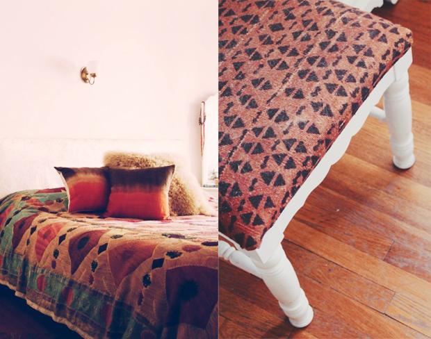 De jolis coussins imprimés de style ethnique, parfaits pour cette chambre boho chic !