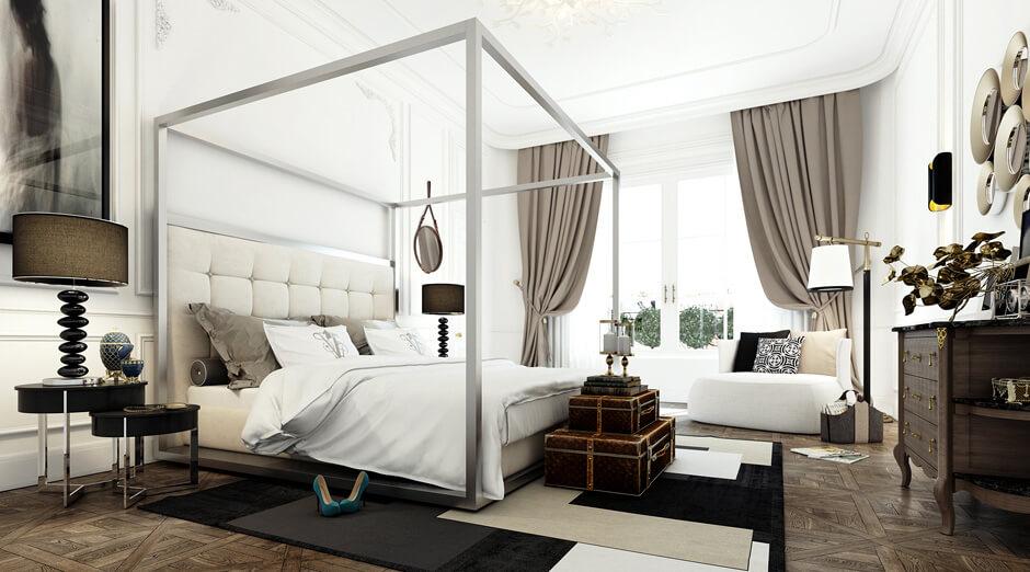 Une chambre bourgeoise et contemporaine, au style presque baroque. Retrouvez plus de photos de cet intérieur parisien élégant dans l'article.