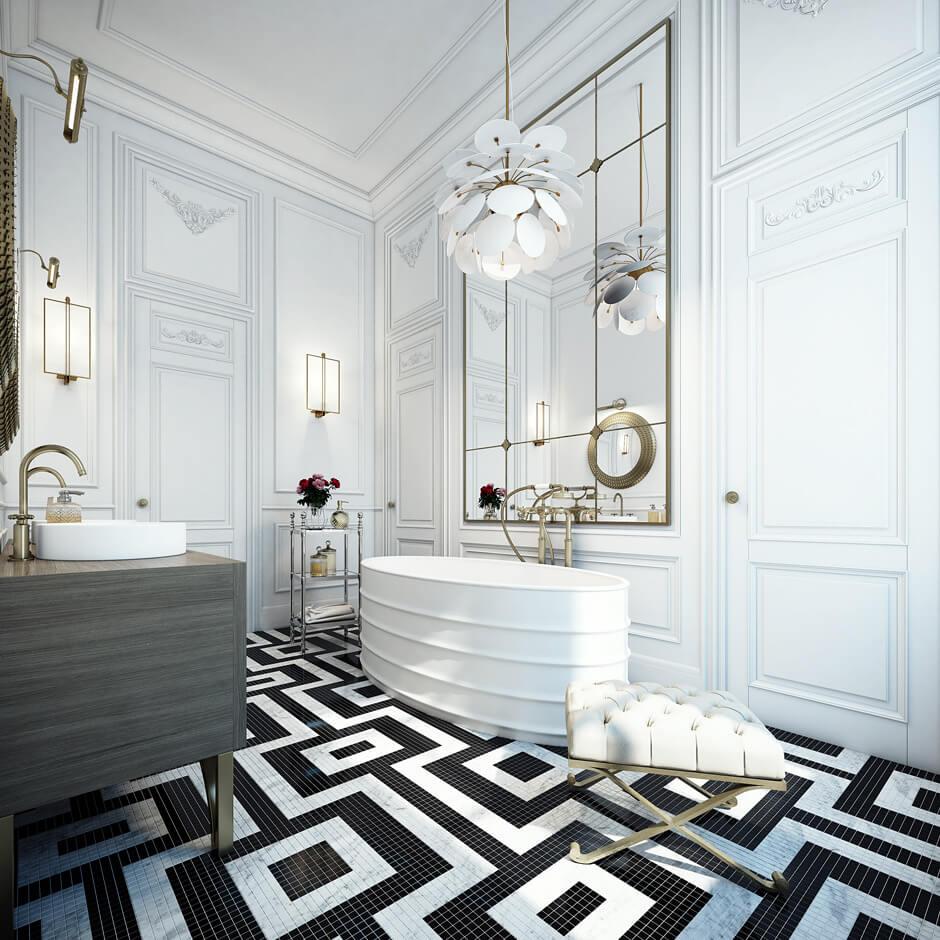 Une salle de bain raffinée, au style bourgeois contemporain. Retrouvez plus de photos de cet intérieur d'exception dans l'article.