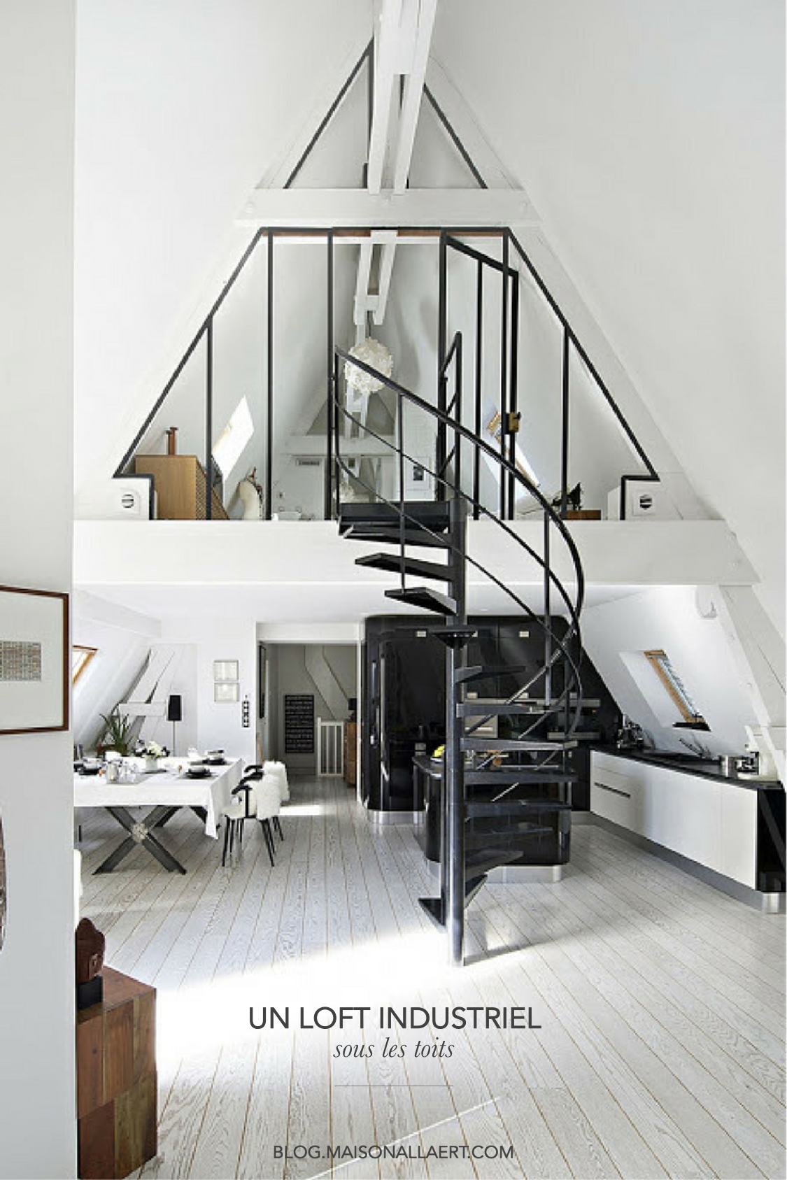 un appartement sous les toits reconverti en loft. Black Bedroom Furniture Sets. Home Design Ideas