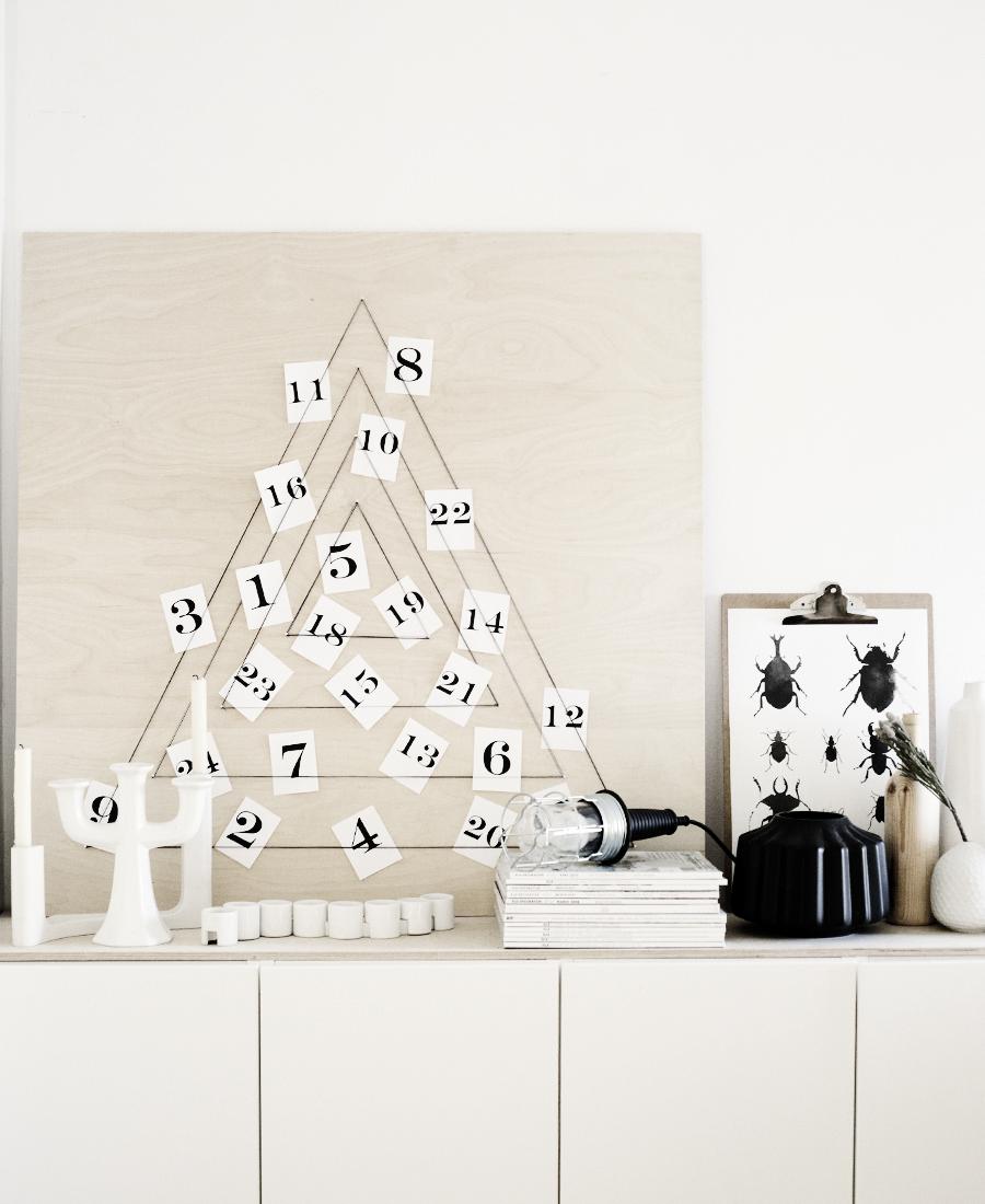 Un calendrier de l'avent chic et moderne à fabriquer avec quelques bouts de ficelles