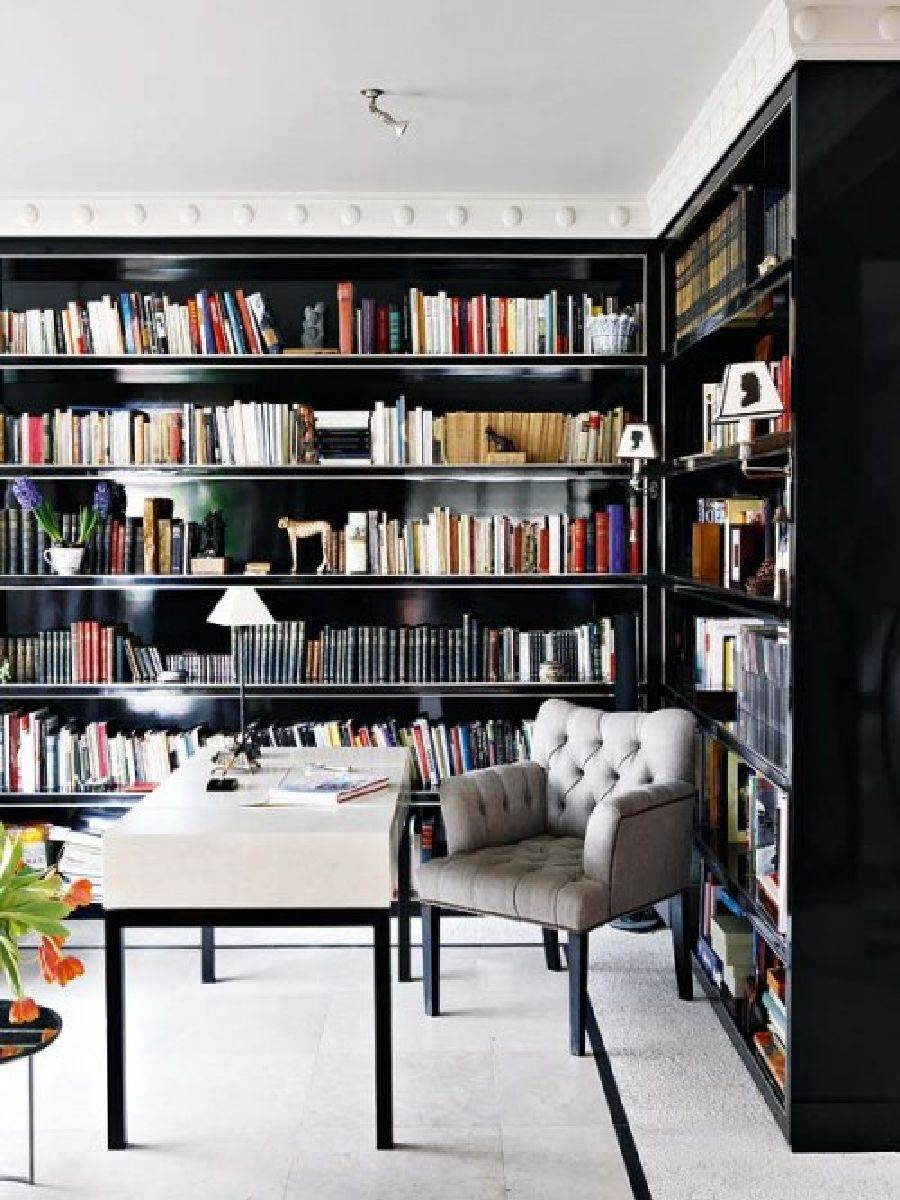 am nager une biblioth que murale dans son salon quelle couleur choisir. Black Bedroom Furniture Sets. Home Design Ideas