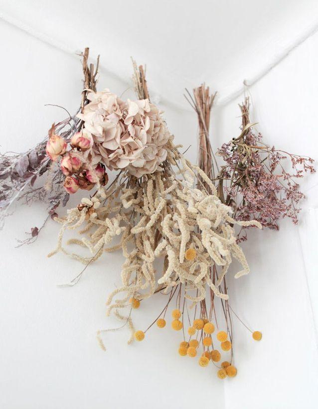 Un gros bouquet de fleurs séchées à suspendre
